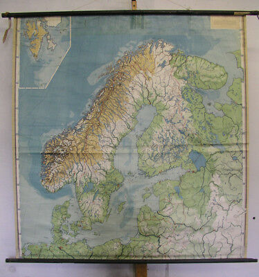 Old Schulwandkarte Northern Europe Scandinavia Scandia ~ 1940 145x151cm