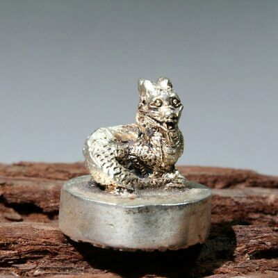Collectable Chinese Handwork Old Miao Silver Carve Dragon Auspicious Seal Statue