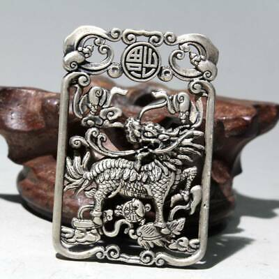 China Collectable Old Miao Silver Carve Pendant Myth Kirin Exorcism Chic Pendant