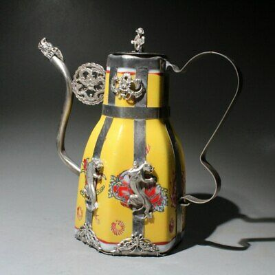 Collectable Old Miao Silver Armor Franz Carve Dragon & Phoenix & Flowers Teapot