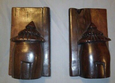 Hut Bookends. Solid Wood with Rich, Dark Finish. 2 pieces. Hand Carved.