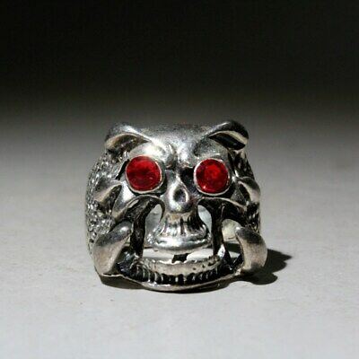 Collectable China Old Miao Silver Skull Head Beautiful Interesting Exorcism Ring