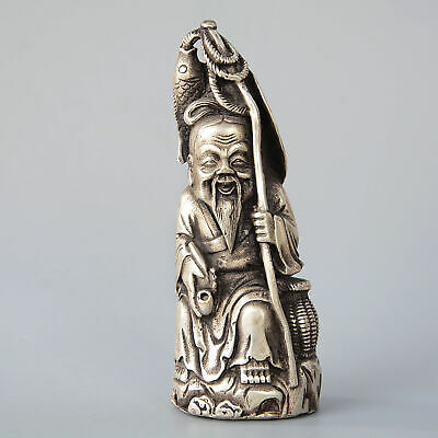 Collectable China Hand-Carved Miao silver Delicate Old Fisherman Unique Statue
