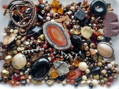 Mixed bead lot 1lb 8oz Jewelry making supply Vintage Antique glass ceramic stone