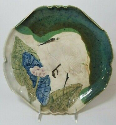 Japanese Pottery Plate With Crane
