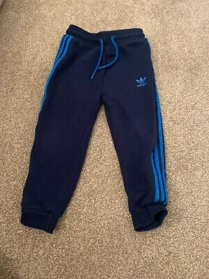 Adidas Boys Navy Blue Tracksuit Bottoms/Joggers Aged 3-4 Years