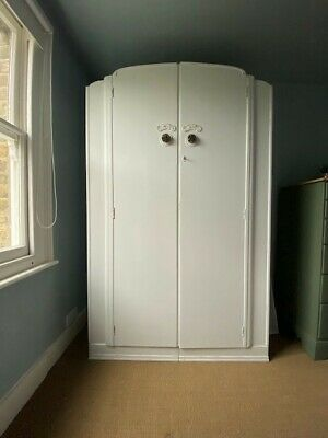 Vintage Retro 1950s white painted wood wardrobe for sale, excellent condition