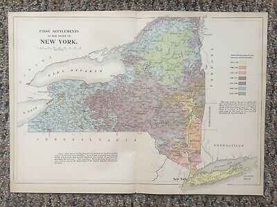 Large Colorful Original Antique Map of New York  Settlements Dates 1614 - 1900