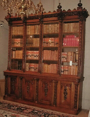 Stunning Large Antique Carved Oak Bookcase c.1870 Gothic Syle Cost £6000