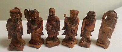 Antique Chinese 7 Immortals Hand Carved Wood 3""