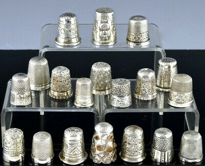 Amazing Large Estate Lot 19 Antique Sterling Silver Sewing Thimbles 1 Jeweled