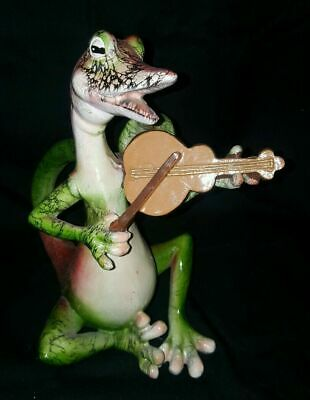 Multicolor Large Resin Gecko Fiddle Playing Lizard 9 inches tall Green Red