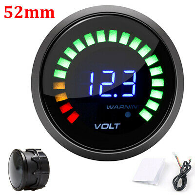 2''52mm Car Digital Voltmeter 12V Volt Gauge Meter 20 LED Black Volt Volt Meter