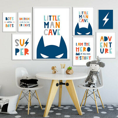 Nursery Quotes Wall Art Canvas Child Poster Print Boy Kids Bedroom Decoration