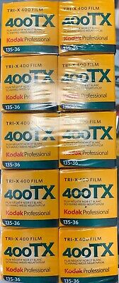 10 Rolls Kodak TX 400-36 Tri-x 35mm B&W Film 2022 Expiration