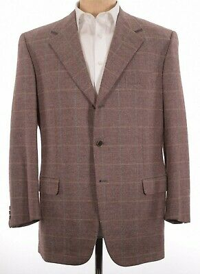 Current Brioni Sport Coat Size US 44R Nomentano Wool in Light Red Plaid Blazer