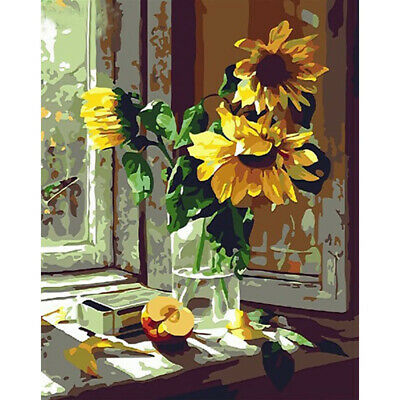 DIY Sunflower Paint By Number Kit Acrylic Oil Painting On Canvas for Beginners