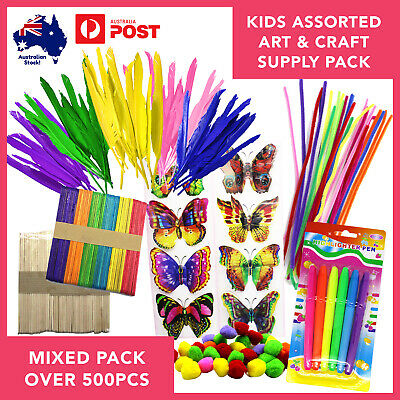 Kids Arts & Craft Supplies Assorted Pack over 500pcs Pom Poms Stickers and more