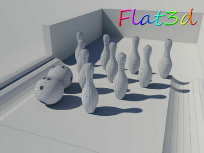 3ds Max 2014 3d Model - Digital Delivery Only - Ten Pin Bowling - Pins - Balls