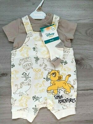 BNWT Baby Boys Ex Nutmeg Lion King T-Shirt Dungarees Romper And Socks Outfit Set