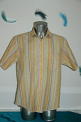 Pretty Shirt Striped Orange Yellow Man Fifteen serge blanco Size L like New