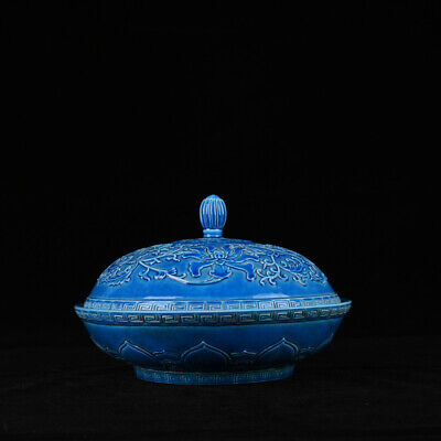 Old Chinese Qianlong Marked blue glaze Porcelain carved flower box bowl 8.7""