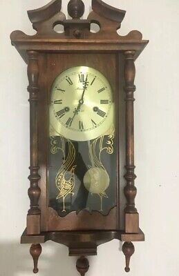 Antique 31 Day MAXIM Wooden Wall Clock with Pendulum & Key FULLY WORKING Vintage