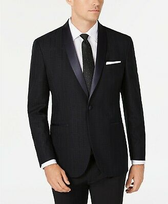 $295 Kenneth Cole Blue Slim-Fit Tonal Houndstooth Dinner Jacket Mens 42S 42 NEW