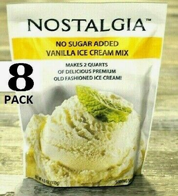 8 Pack - Nostalgia Vanilla Ice Cream Mix No Sugar Added Makes 2 Quarts 4 oz Pack