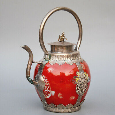 China Collect Old Miao Silver Armour Porcelain Carve Monkey & Dragon Old Tea Pot