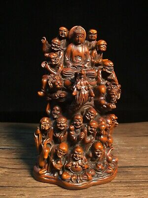 Collect China Old Boxwood Hand-Carved Eighteen Arhats Exorcist Decor Rare Statue