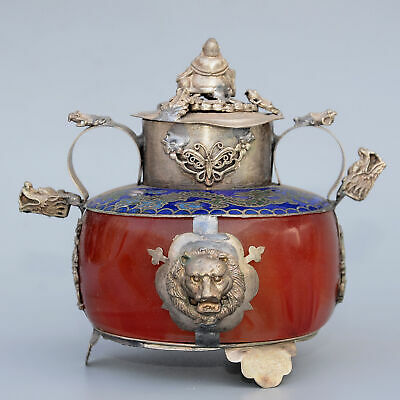 Collect Old Miao Silver Armour Agate Hand-Carved Buddha & Dragon Delicate Censer