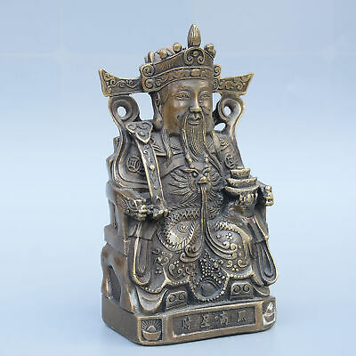 AAA Collectable China Old Bronze Hand-Carved Immortal Bring Wealth Unique Statue