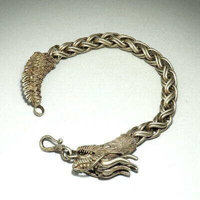 Collectable China Miao Silver Hand-Carvd Myth Dragon Auspicious Decor Bracelet