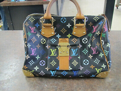 Louis Vuitton Speedy 30 Monogram Multicolor Black Hand Tote Bag Used