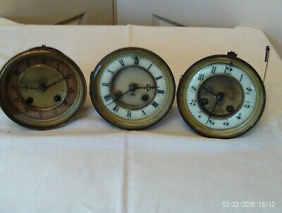 3 Antique French mantel clock movements  for spares or repair