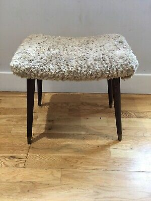 Vintage Retro 1960/70s, lovely Stool Lambswool Style Upholstered top, Brass Feet