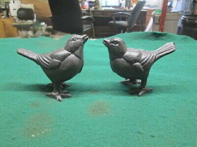 2 Cast Iron Birds Figurine Statue Paper Weight Home Decor Happy Birds