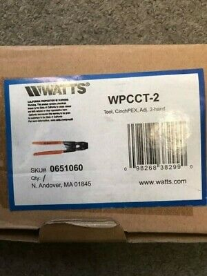 Watts WPCCT-2 Cinch PEX 2-Band Ratchet Clamp Crimp Tool, 0651060 - NEW