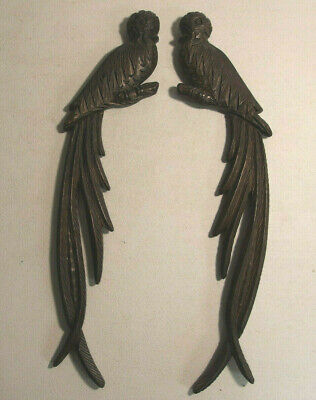 """Two Hand Carved Wood 15"""" Guatemala Quetzel Bird Wall Hanging Plagues"""