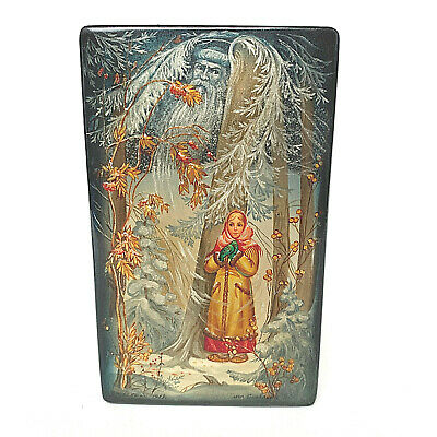 USSR Russian Laquered Black Wooden Box Girl And Father Christmas