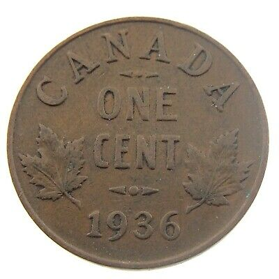 1936 Canada One 1 Cent Penny Copper Canadian Circulated George V Coin P455
