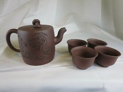 Chinese Yixing Clay Tea Pot with Cups Signed