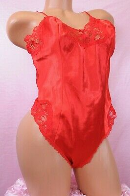 VTG Red SATIN Shiny Delicates Lacy Glossy Sissy Snap Closure Teddy Romper Slip L
