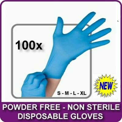 Box Of 100 Blue Vinyl Powder Free Disposable Work Rubber Free Gloves New