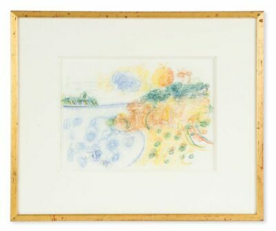John Perceval original pastel - Sunset, Queenscliff - signed dated 1990