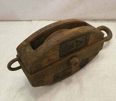 Vintage Wooden Ship's Pulley One Wooden Wheel  Japanese Markings Medium #215
