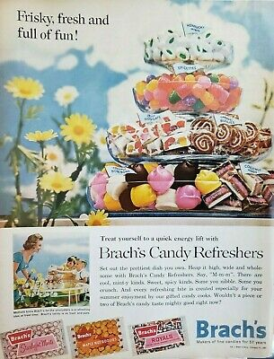 Lot of 3 Vintage Brach's Candy Refreshers Ads Burgundy
