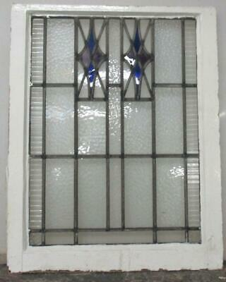 "MIDSIZE OLD ENGLISH LEADED STAINED GLASS WINDOW Great Geometric 20.75"" x 26.25"""
