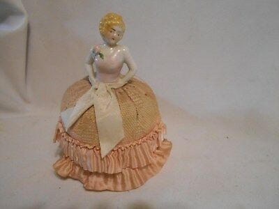 vintage porcelain sewing  pin cushion doll light pink with blond hair